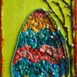 Nasza praca wykonana z zabarwionych skorupek jajek :)