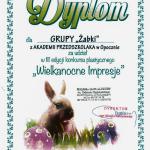 """Dyplom grupy """"Żabki"""" uczestnictwa w konkursie plastycznym Wielkanocne Impresje"""
